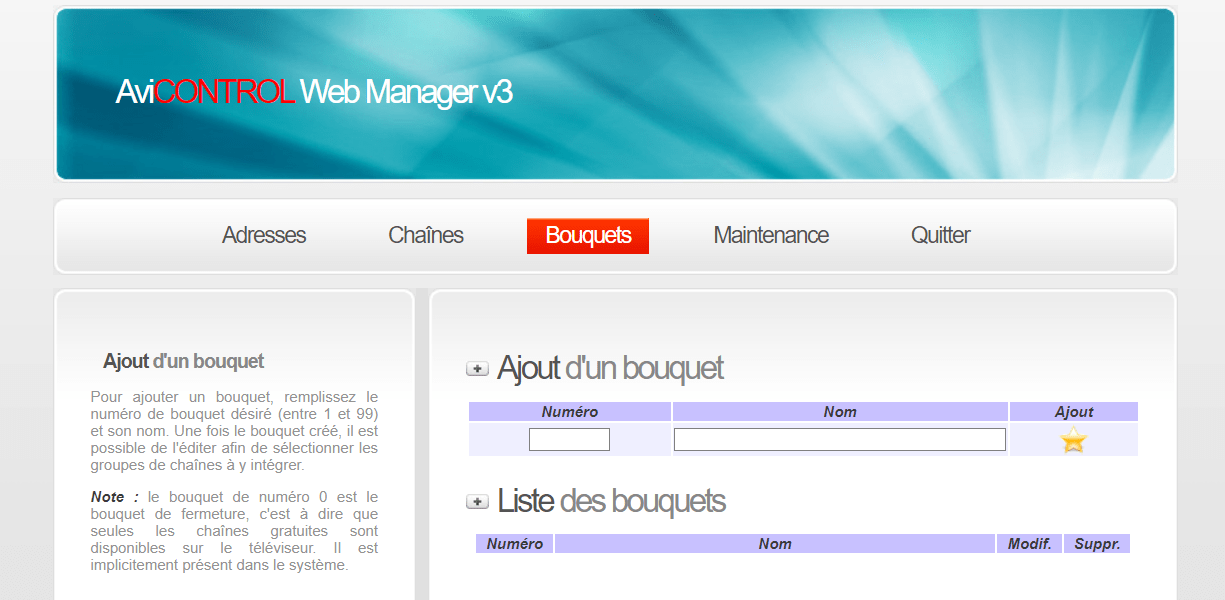 AVICONTROL Web Manager Bouquets