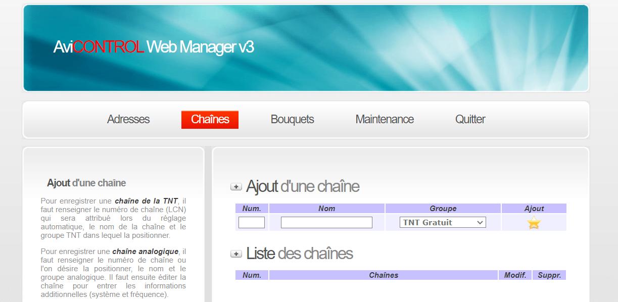 AVICONTROL Web Manager Chaînes