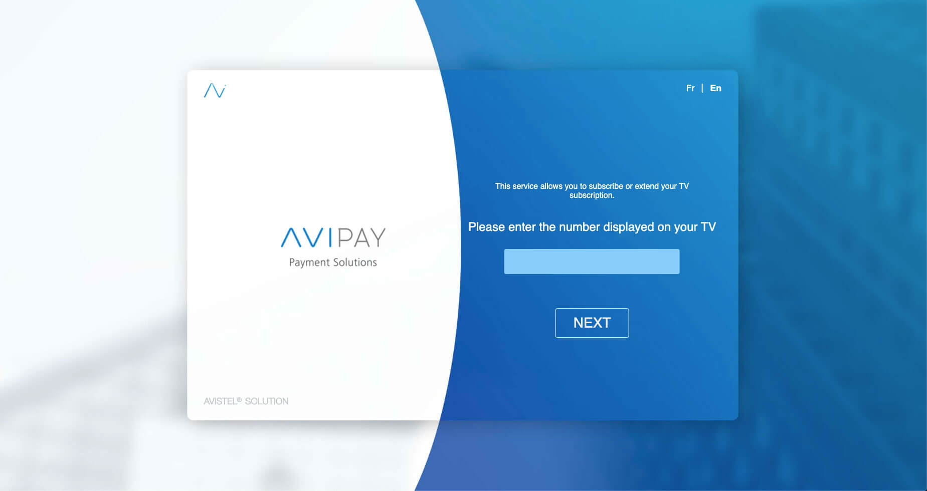 AVIPAY TV subscription UI