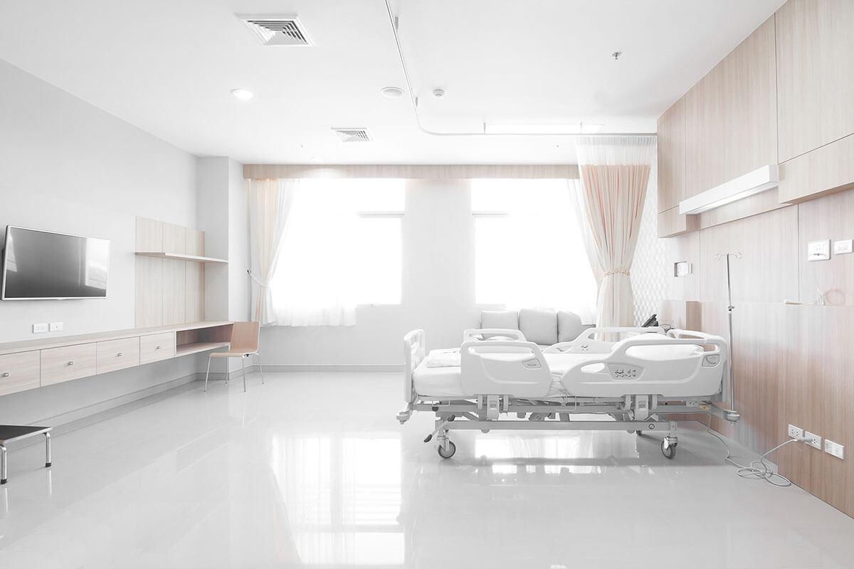 Chambre patient avec divertissement hopital